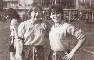 O'Brien (right) in Lazio colours with Danish goal-machine Susy Augustesen, 1981. Picture from