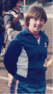 Thomas lines up before her 50th cap against Scotland at Preston, March 1985 The cap was presented post-match by Sir Tom Finney