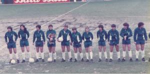 England line up before the European Championship final 2nd leg, Luton 1984, including Wiseman, Thomas, Hanson, Gallimore, Pearce, Coultard, Deighan, Bampton, Curl, Davis, Chapman, Powell, Turner, Sempare, Parker, Irvine