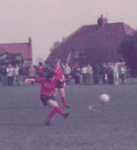 Thomas in action in the 1984 WFA Cup Semi Final for Rowntrees Ladies against Debbie Bampton's Howbury Grange