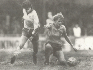 Deighan (left) making a splash at the Euro 84 final in Luton