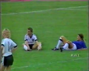 Penalty! Klinzmann and Morace on the turf