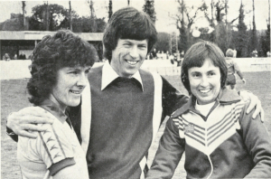 Team captains Maureen Reynolds (L) and Sue Buckett (R) with Newsround supremo John Craven at the WFA Cup Final, Waterlooville, 6 May 1979